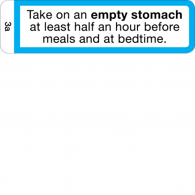 Take on an empty stomach - Half hour before meals and at bedtime - CAL