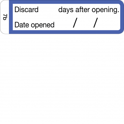 Discard __ days after opening - CAL