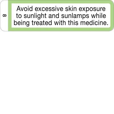 Avoid excessive skin exposure to sunlight - CAL