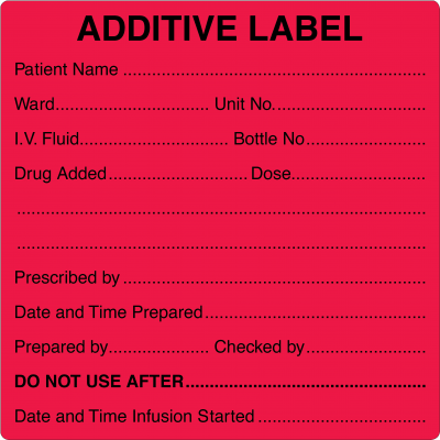 Burette & Additive Labels
