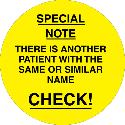 Patient with the same or similar name (Yellow)