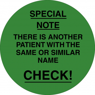 Patient with the same or similar name (Green)
